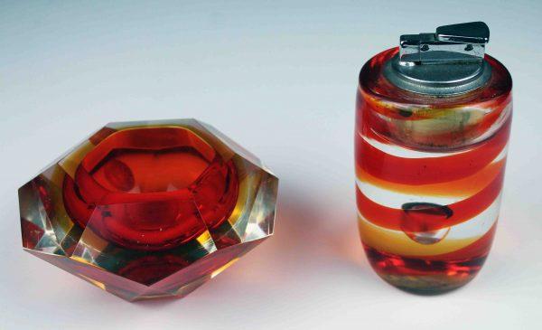Conjunto de cenicero y mechero vintage de cristal de Murano