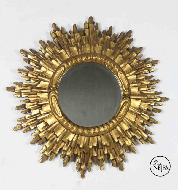 Espejo sol vintage de madera
